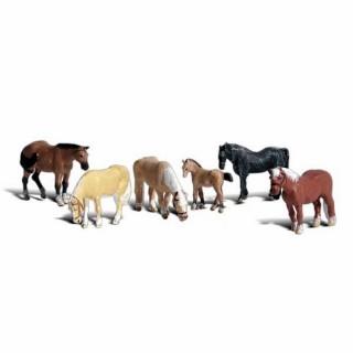 6 chevaux et poulin -HO-1/87-WOODLAND SCENICS A1862