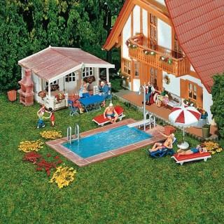 Piscine + pool house + accessoires-HO-1/87-FALLER 180542