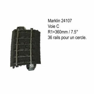 Rail courbe R1 360mm 7.5 degrés voie C-HO-1/87-MARKLIN 24107