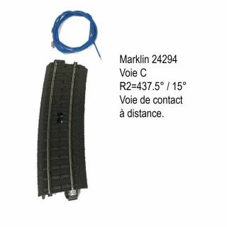 Rail courbe de contact commande R2 voie C-HO-1/87-MARKLIN 24294