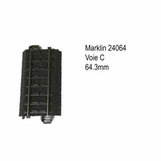 Rail droite 64.3mm voie C-HO-1/87-MARKLIN 24064