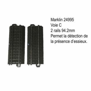 2 rails droites 94.2mm de contact voie C-HO-1/87-MARKLIN 24995