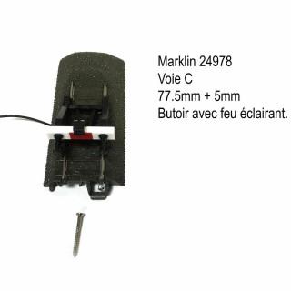 Butoir sur rail 77.5mm avec feu voie C-HO-1/87-MARKLIN 24978