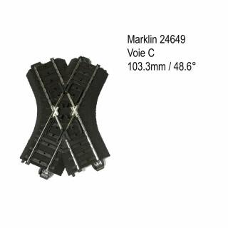 Rail croisement 103.3mm 48.6 degrés voie C-HO-1/87-MARKLIN 24649