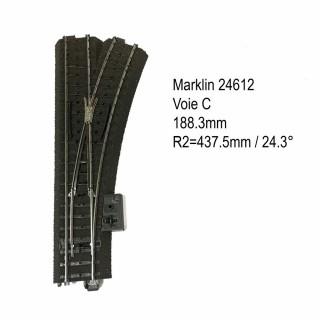 Aiguillage droit gauche 188.3mm R2 24.3 degrés voie C-HO-1/87-MARKLIN 24612