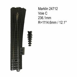 Aiguillage droit droit 236.1mm 12.1 degrés voie C-HO-1/87-MARKLIN 24712