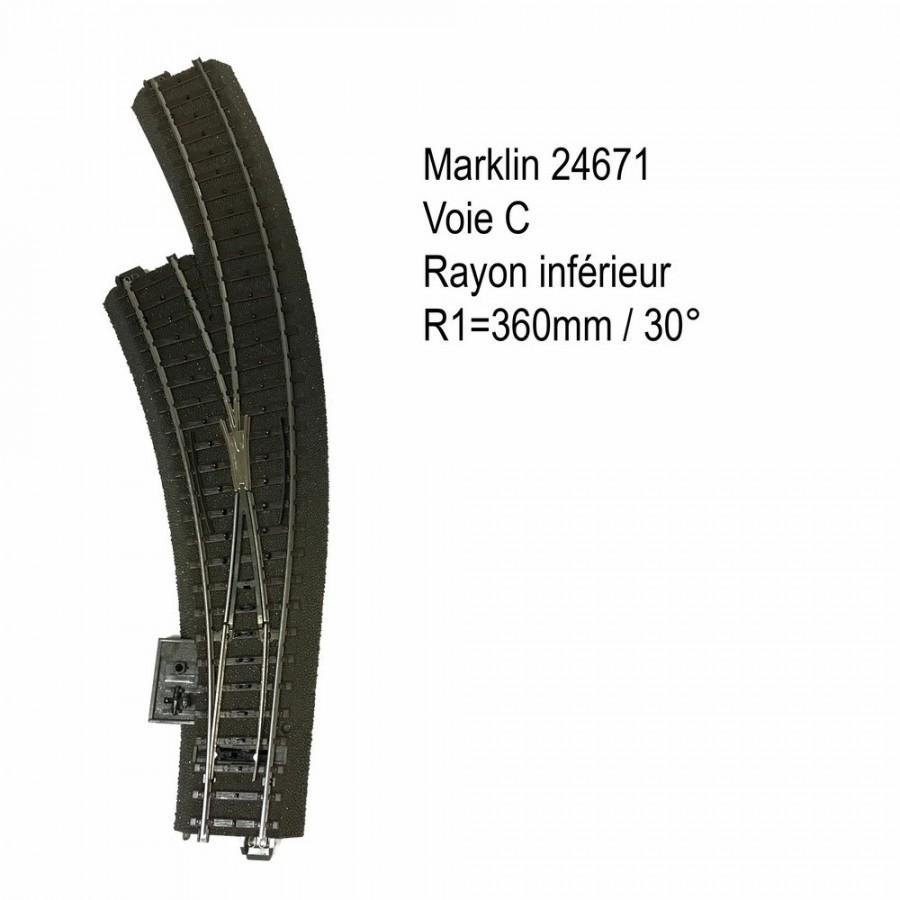Aiguillage courbe gauche R1 360mm 30 degrés voie C-HO-1/87-MARKLIN 24671