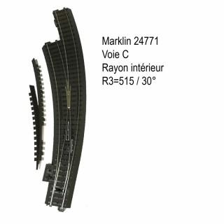 Aiguillage courbe gauche R3 515mm 30 degrés voie C-HO-1/87-MARKLIN 24771