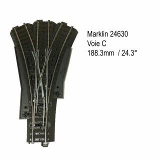 Aiguillage triple 188.3mm 2 x 24.3 degrés voie C-HO-1/87-MARKLIN 24630