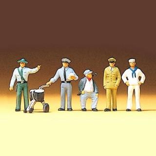 5 personnes en tenue de travail pour vos dioramas HO-1/87-PREISER 10014