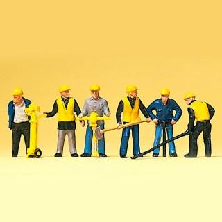 6 ouvriers poseurs de voie  HO-1/87-PREISER 10035