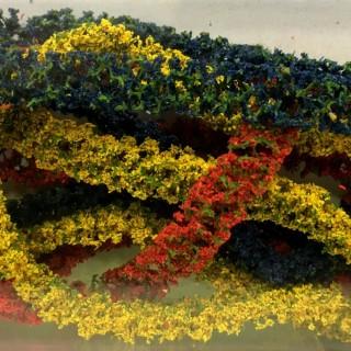 3 haies de couleurs rouge, jaune et bleue-Toutes échelles-1/87-FALLER 181443