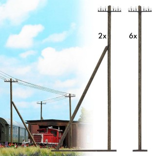 8 poteaux télégraphique 2 types -HO-1/87-BUSCH 1499