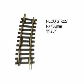 Rail Setrack courbe R2 438mm 11.25° code 100-HO-1/87-PECO ST-227