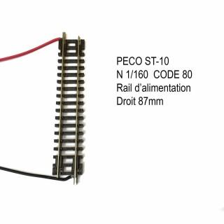 Rail Setrack droite 87mm d'alimentation code 80 -N-1/160-PECO ST-10