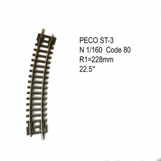Rail Setrack courbe R 228mm 22.5 degrés code 80 -N-1/160-PECO ST-3
