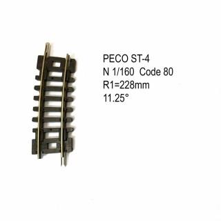 Rail Setrack courbe R 228mm 11.5 degrés code 80 -N-1/160-PECO ST-4