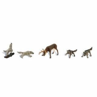 1 cerf encerclé par 4 loups -HO-1/87-WOODLAND SCENICS A1942