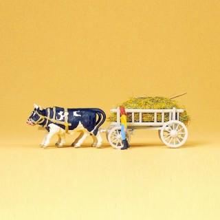 Charrette de foin avec 2 bœufs et personnage HO-1/87-PREISER 30472