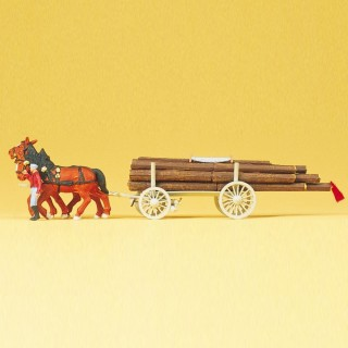 Charrette de bois avec 2 chevaux et personnage HO-1/87-PREISER 30465
