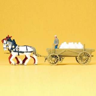 Charrette de sacs avec 2 chevaux et personnage HO-1/87-PREISER 30470