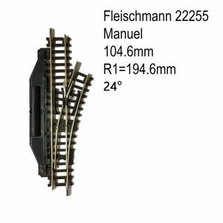 Rail aiguillage droit droit manuel 104.2mm-N-1/160-FLEISCHMANN 22255
