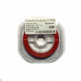 Fil souple de câblage souple rouge 0.8mm2 cuivre 20ml -AWG28R