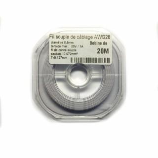 Fil souple de câblage souple blanc 0.8mm2 cuivre 20ml -AWG28BC