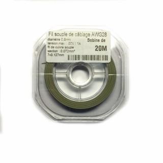 Fil souple de câblage souple gris 0.8mm2 cuivre 20ml -AWG28G