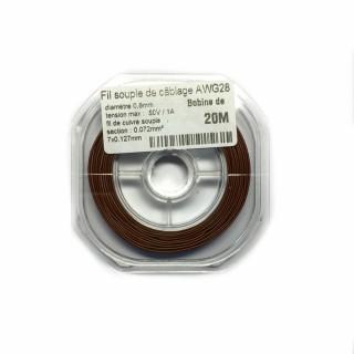 Fil souple de câblage souple marron 0.8mm2 cuivre 20ml -AWG28M