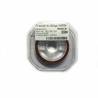 Fil souple de câblage souple marron 0.5mm2 cuivre 20ml -AWG34M