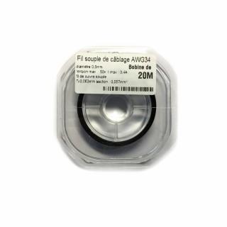 Fil souple de câblage souple noir 0.5mm2 cuivre 20ml -AWG34N