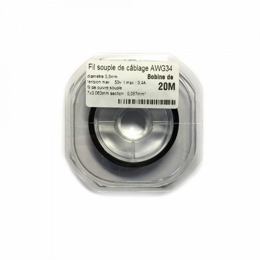 Fil souple de c blage souple noir cuivre 20ml - Fil electrique souple ...
