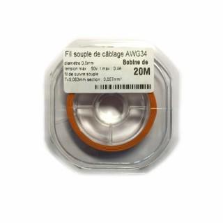 Fil souple de câblage souple orange 0.5mm2 cuivre 20ml -AWG34O