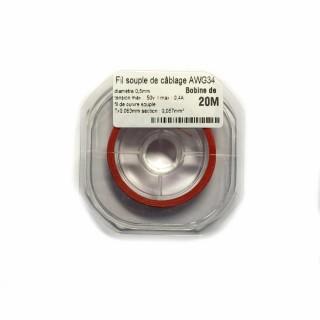 Fil souple de câblage souple rouge 0.5mm2 cuivre 20ml -AWG34R
