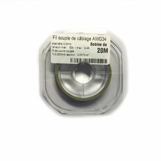 Fil souple de câblage souple gris 0.5mm2 cuivre 20ml -AWG34G