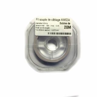 Fil souple de câblage souple Blanc 0.5mm2 cuivre 20ml -AWG34BC