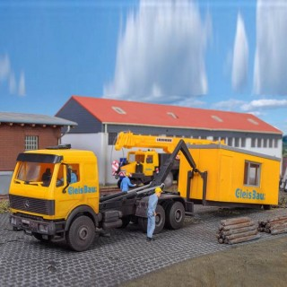 Camion MB LP transport de conteneur Gleisbau -HO-1/87-KIBRI 16310