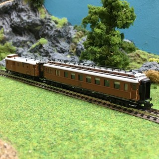 2 voitures CIWL Teck Wien - Ostende Express ép I -N-1/160-HOBBYTRAIN H22101