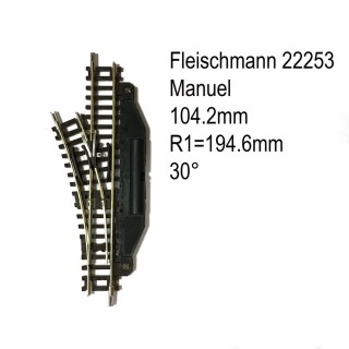 Rail aiguillage droit gauche manuel 104.2mm-N-1/160-FLEISCHMANN 22253