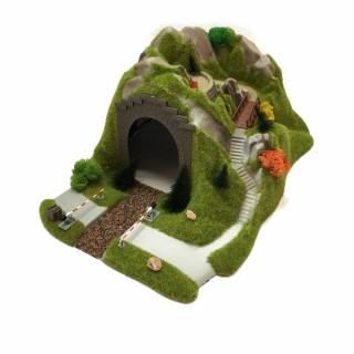 Tunnel avec passage à niveau manuel -HO-1/87-BUSCH 3018