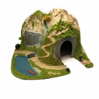 Tunnel 90 degrés 1 voie + passage à niveau manuel -HO-1/87-NOCH 05170