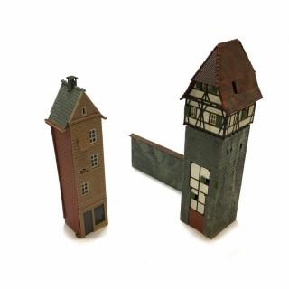 Maquette de deux tours avec mur -HO-1/87- DEP64-120