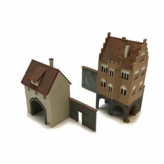 Maquette de deux maisons avec murs -HO-1/87- DEP64-119