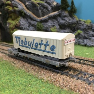 Wagon type kangourou Mobylette Sncf époque III -HO-1/87-REE WB228