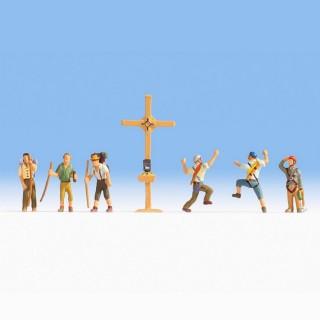 Randonneurs + croix -HO-1/87-NOCH 15874
