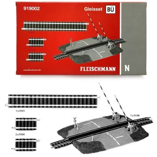 Coffret BÜ, rails droits + passage à niveaux-N-1/160-FLEISCHMANN 919002