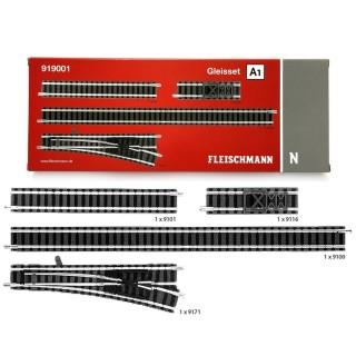 Coffret A1, rails droits, aiguillage et butoir-N-1/160-FLEISCHMANN 919001