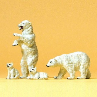 4 ours polaire -HO-1/87-PREISER 20384