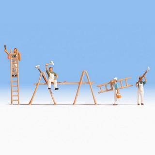 4 peintres + échelles et échafaudages -HO-1/87-NOCH 15056